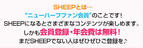 """SHEEPとは…""""ニューハーフファン会員""""のことです!SHEEPになるとさまざまなコンテンツが楽しめます。しかも!会員登録・年会費は無料!"""